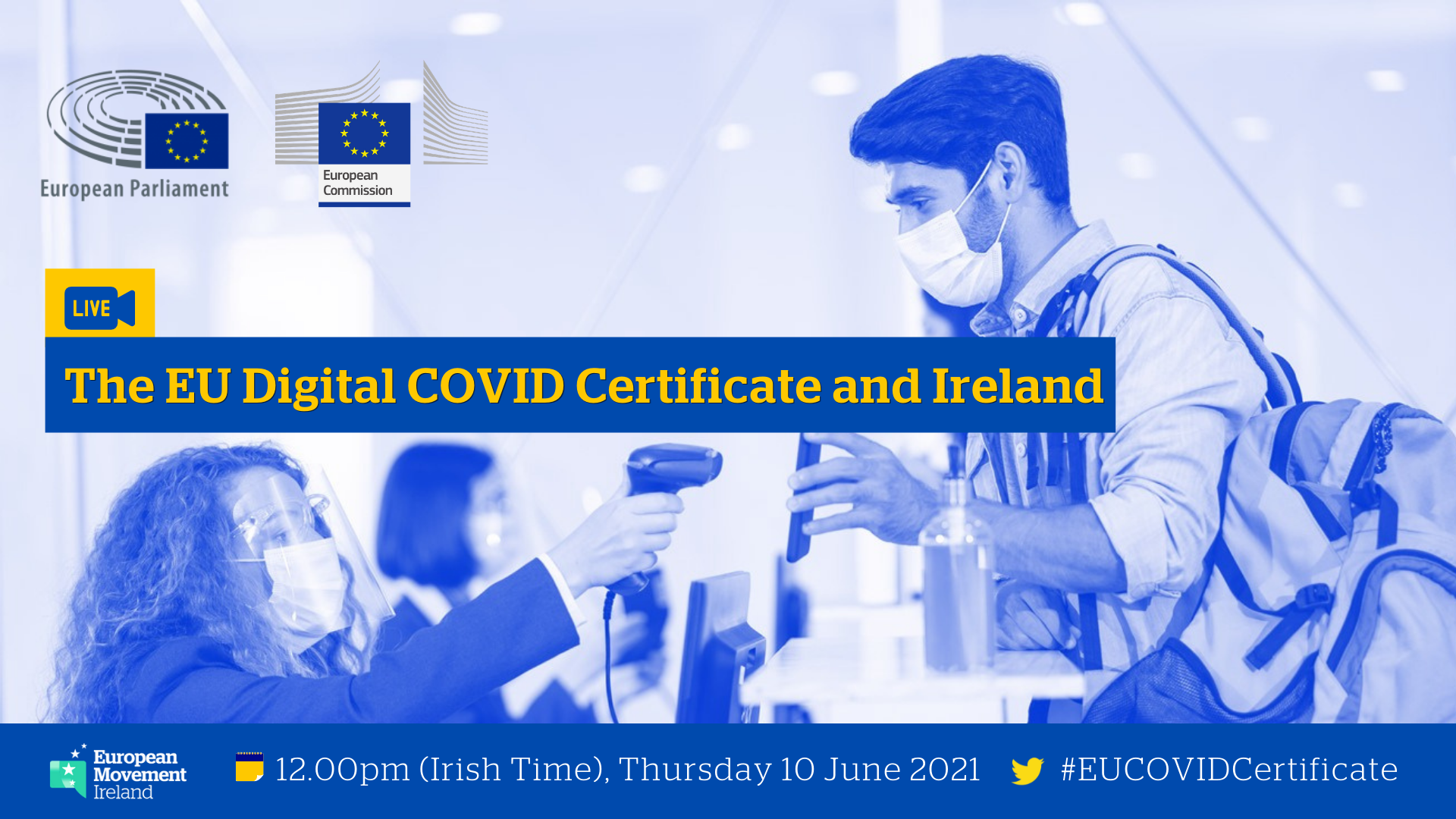 Promotional image for the online panel discussion on the EU Digital COVID Certificate and Ireland