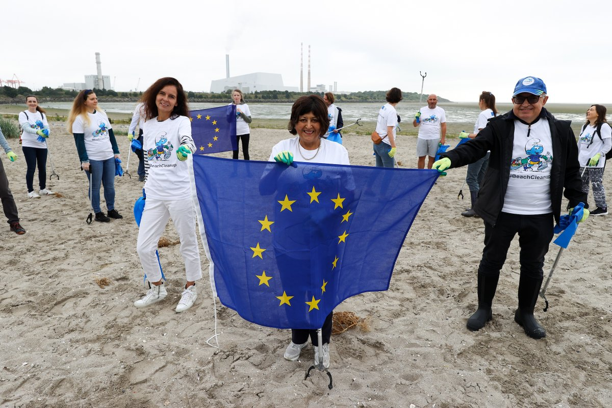 EU Beach clean up: Staff from the European Parliament and European Commission offices in Dublin taking part in a beach cleanup