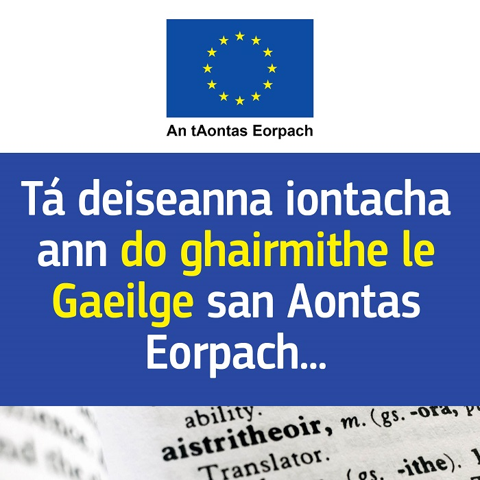 Image with text in Irish about Irish language job opportunities in the EU