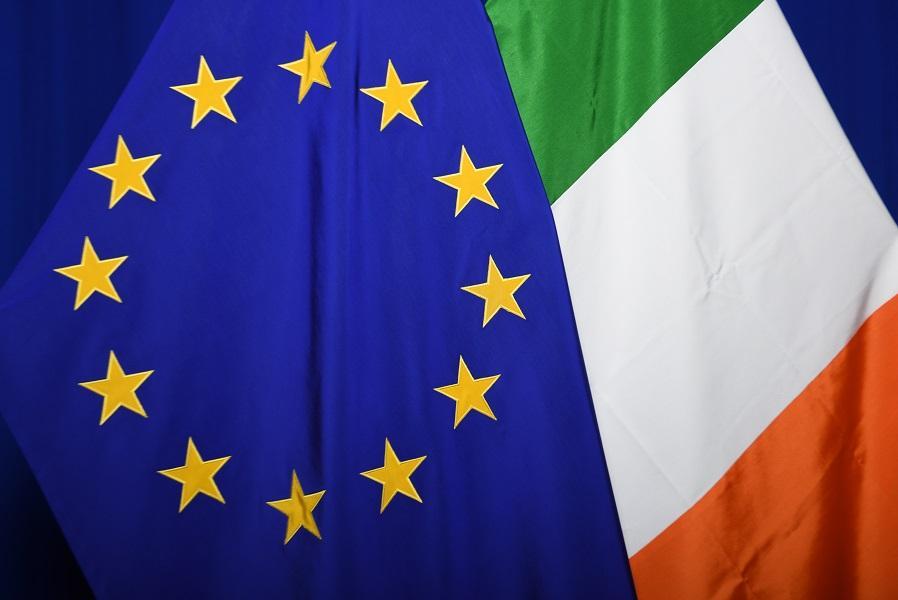 The EU and Irish flags
