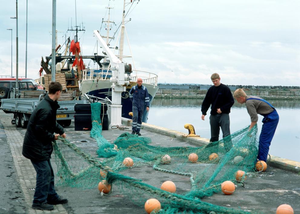 Fishermen in Irish port