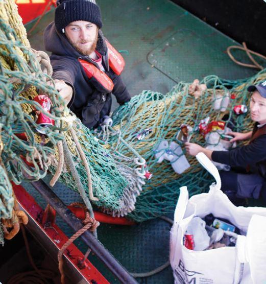 Irish fishermen taking part in the Fishing for Litter initiative