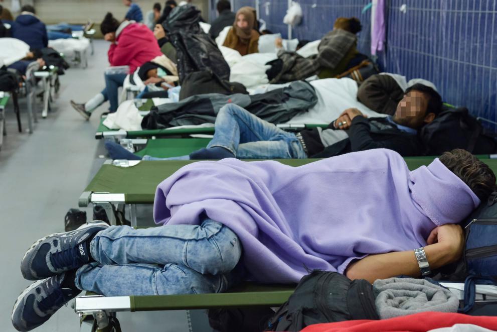 Asylum seekers in camp