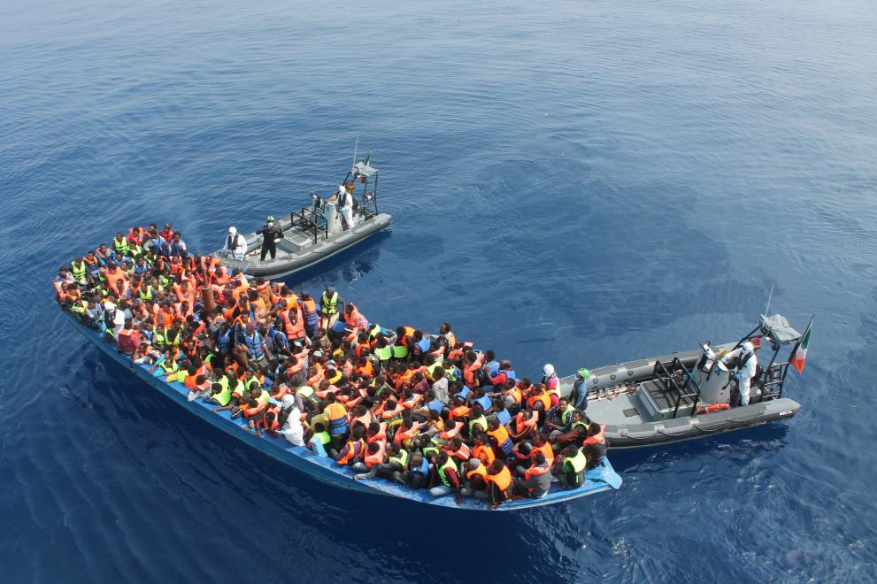 Migration - migrants being rescued at sea