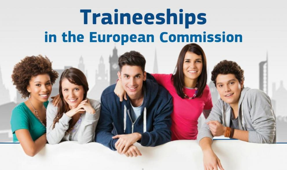 """Image of 5 trainees with text """"Traineeships in the European Commission"""""""