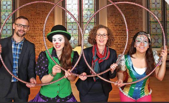 Professor David Gillivray and Dr Bernadette Quinn with circus performers