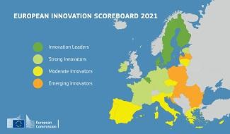 European Innovation Scoreboard 2021: Colour-coded map showing the performance of each EU Member State